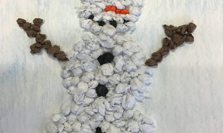 1. Klassen: Wir basteln Schneemänner